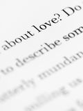 About love. Written in a book Royalty Free Stock Image
