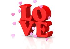 Love. A 3D rendered artwork with white background vector illustration