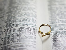Love. Ring of dictionary that marks the word love in french Royalty Free Stock Images