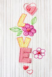 Love. Patchwork embroidered word love with hearts and flowers Royalty Free Stock Photography