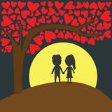 Love. In full moon night Royalty Free Stock Photo
