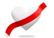 Love. White heart with red ribbon Stock Image