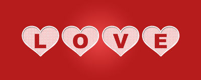 Love. Heart cuts and the text Love vector illustration