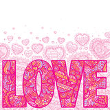 Love. Word Love filled with colorful ornaments Stock Images