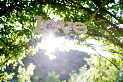 LOVE. Small decorative backdrop of the sun Stock Photography