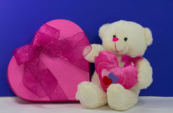 Love. Little white bear give away heart for mother's day Stock Images
