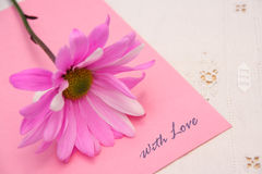 With Love. Beautiful pink daisy on a note reading With Love Stock Photography