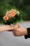 Love. Closeup of hands with rings - wedding day Royalty Free Stock Photos
