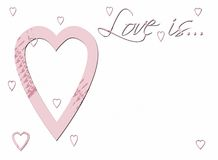 Love is ... Love is; in soft pink with little tiny hearts floating Stock Image