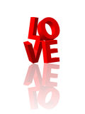 Love 3d text #2. Love 3d text with reflection isolated Royalty Free Stock Photo