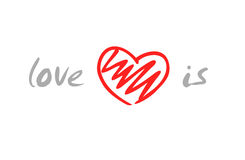 Love is. Vector illustration of hand-made heart shape Royalty Free Stock Photos