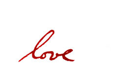 Love. Close-up of a word love written in red ink Stock Photo
