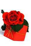 Love. Red rose and gift Stock Photography