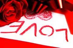 Love. Red rose and valentine letter Royalty Free Stock Photos