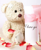 Love. Old bear with love letter Stock Images