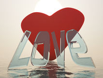 Love. 3d scene heart with inscription Love on background sea Stock Image