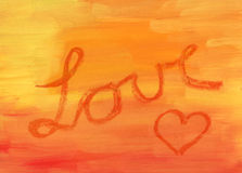 Love. And hesrt over orange background Stock Photos