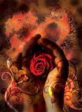 Love. A pair of hands holding a rose Stock Images