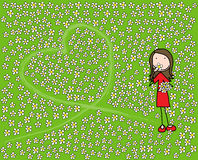 In love. Girl in love picking flowers leaving heart shaped mark royalty free illustration