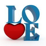 Love. Text with heart. Isolated Royalty Free Stock Photos