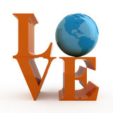 Love. Text with globe. Isolated Royalty Free Stock Images