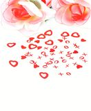 Love. Isolated soft roses with hearts Royalty Free Stock Photos
