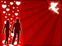 Love. Illustration for lovers wuth hearts and angel vector illustration