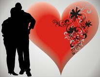Love. Couple and heart -  illustration Stock Photography