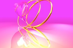 Love. Gold rings,3d composition vector illustration
