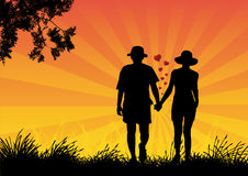 Love. A young couple hand in hand Royalty Free Stock Photos
