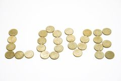 Love. Interesting love make with some coins Stock Images