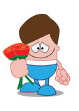 In Love. A cartoon character depicting love and bashfulness Royalty Free Stock Photos