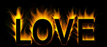 Love. Word in fire background Stock Images