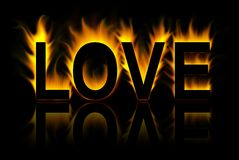 Love. Word in abstract fire background Vector Illustration