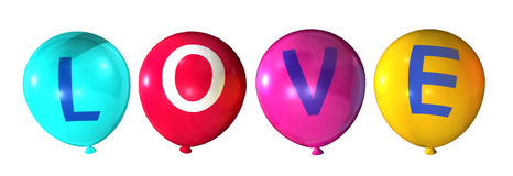 Love. Word in colorful balloons Royalty Free Stock Photos