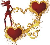 Love. Enamoured heart in a gold frame against a vegetative ornament with the young woman standing nearby Royalty Free Stock Image