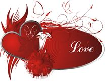 Love. Red heart against vegetative an ornament with a framework for the text Stock Photo