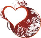 Love. Heart against a circle with a vegetative ornament Royalty Free Stock Images
