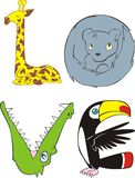 Love. A creative representation of the word Love. Four animals representing the word LOVE: a giraffe, bear cat, crocodile, and a toucan stock illustration