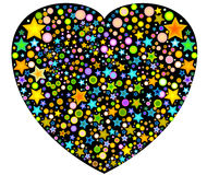 Heart with stars and circles Royalty Free Stock Photo