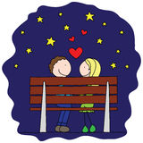 In love. Illustration of couple in love sitting on a bench under the stars stock illustration