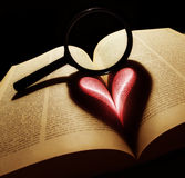 Love. Stylized valentine heart made from book and lens Stock Photo