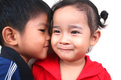 So in love. Two asian kids Royalty Free Stock Images