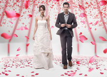 Love. Wedding couple walking in roses royalty free stock image