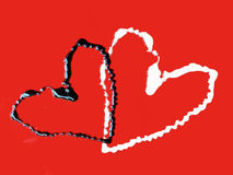 Love. Chocolate hearts on red backgrounds Stock Illustration