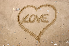 Love. Drawing on the sand - Love Royalty Free Stock Photos