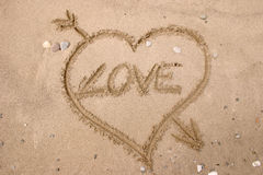 Love. Drawing on the sand - Love Stock Photography
