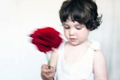 With Love. Special effect, little girl waving a rose. Soft focus image stock image
