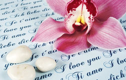 Love. Letter with pink orchid and three little stones Stock Images