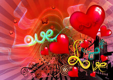Love. With stars lines and red hearts on abstract background Royalty Free Stock Photography